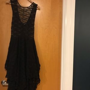 Sheer black lace stretchy free people dress